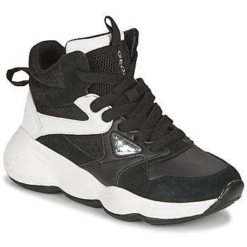 Schoenen Meisjes Hoge sneakers Geox BUBBLEX Zwart / Wit