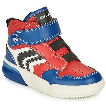 Schoenen Jongens Lage sneakers Geox GRAYJAY Rood / Blauw