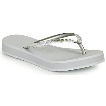 Schoenen Dames Slippers Havaianas SLIM FLATFORM GLITTER Zilver