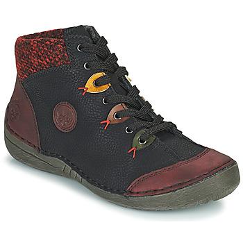 Schoenen Dames Laarzen Rieker 52513-36 Zwart / Bordeaux