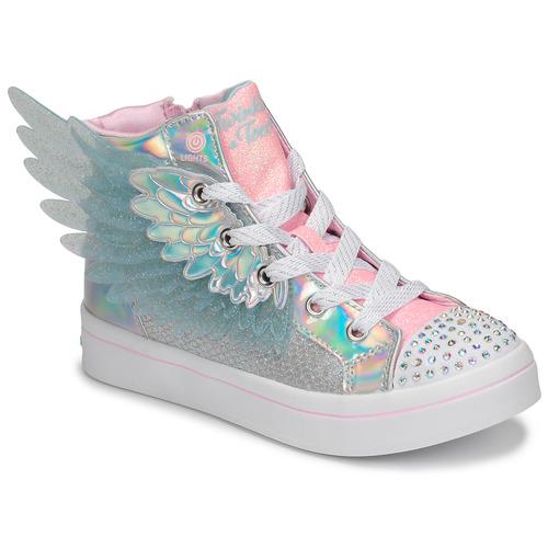 Schoenen Meisjes Hoge sneakers Skechers TWI-LITES 2.0 Zilver / Roze / Led