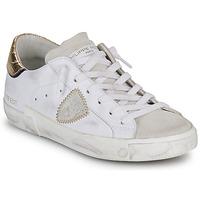 Schoenen Dames Lage sneakers Philippe Model PARIS X VEAU CROCO Wit / Goud