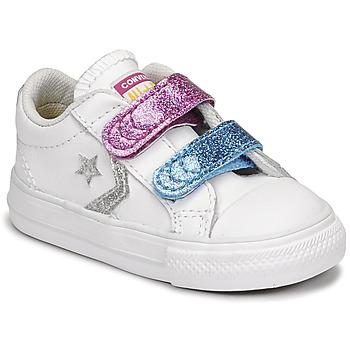 Schoenen Meisjes Lage sneakers Converse STAR PLAYER 2V GLITTER TEXTILE OX Wit / Blauw / Roze