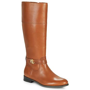 Schoenen Dames Hoge laarzen Lauren Ralph Lauren BAYLEE Cognac