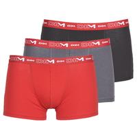 Ondergoed Heren Boxershorts DIM COTON STRETCH Grijs / Rood / Zwart