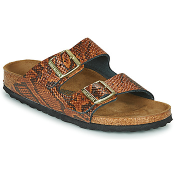 Schoenen Dames Leren slippers Birkenstock ARIZONA Brown