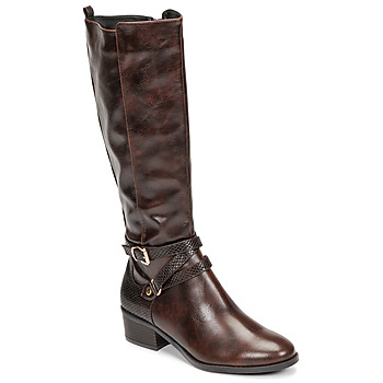 Schoenen Dames Hoge laarzen Moony Mood NELLE Brown