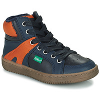 Schoenen Jongens Hoge sneakers Kickers LOWELL Marine / Orange