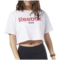Textiel Dames T-shirts korte mouwen Reebok Sport Linear Logo Crop Tee Blanc
