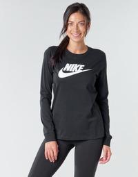 Textiel Dames T-shirts met lange mouwen Nike W NSW TEE ESSNTL LS ICON FTR Zwart
