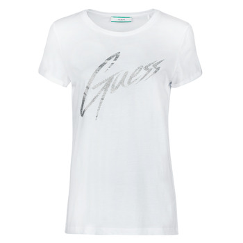 Textiel Dames T-shirts korte mouwen Guess SS CN IVONNE TEE Wit