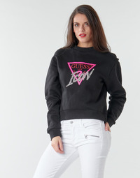 Textiel Dames Sweaters / Sweatshirts Guess ICON FLEECE Zwart / Multicolour