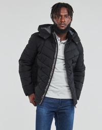 Textiel Heren Dons gevoerde jassen Guess STRETCH PUFFA HOODED Zwart