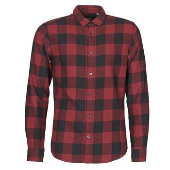 Textiel Heren Overhemden lange mouwen Only & Sons  ONSGUDMUND Bordeaux / Zwart