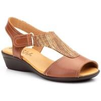 Schoenen Dames Sandalen / Open schoenen Cbp - Conbuenpie Sandalias con cuña de piel by Alto Estilo Marron