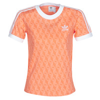 Textiel Dames T-shirts korte mouwen adidas Originals 3 STRIPES TEE Orange