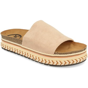 Schoenen Dames Leren slippers Woman Key CZ-10095 Beige