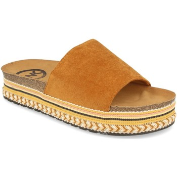 Schoenen Dames Leren slippers Woman Key CZ-10095 Camel