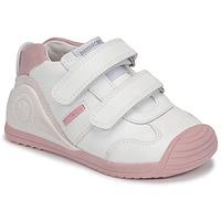 Schoenen Meisjes Lage sneakers Biomecanics BIOGATEO SPORT Wit / Roze