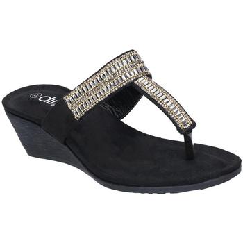 Schoenen Dames Leren slippers Divaz  Zwart