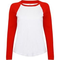 Textiel Dames T-shirts met lange mouwen Skinni Fit Baseball Wit/rood