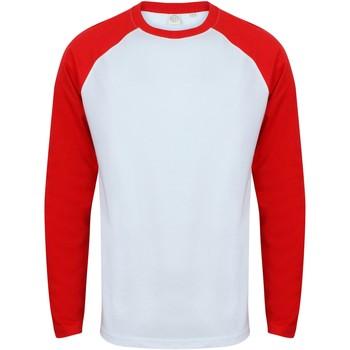 Textiel Heren T-shirts met lange mouwen Skinni Fit Baseball Wit / Rood