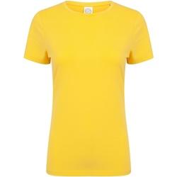 Textiel Dames T-shirts korte mouwen Skinni Fit Stretch Geel