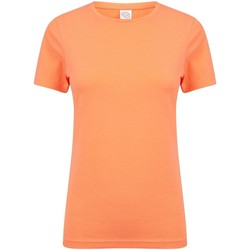 Textiel Dames T-shirts korte mouwen Skinni Fit Stretch Koraal