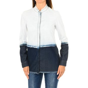 Textiel Dames Overhemden Armani jeans Chemise en jean à manches longues Blauw