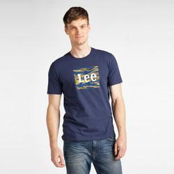 Textiel Heren T-shirts korte mouwen Lee T-shirt  Camo Package Dark Navy bleu marine/jaune/blanc