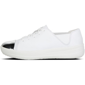 Schoenen Dames Lage sneakers FitFlop F-Sporty™ Mirror-Toe Sneaker Leather Urban White