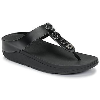 Schoenen Dames Slippers FitFlop FINO CIRCLE TOE-THONGS Zwart