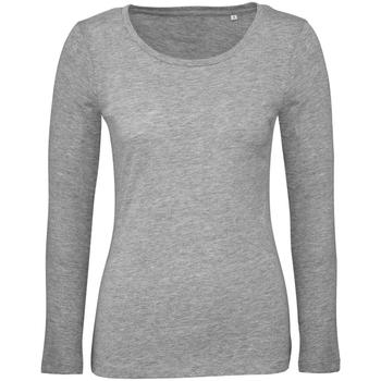 Textiel Dames T-shirts met lange mouwen B And C TW071 Sportgrijs