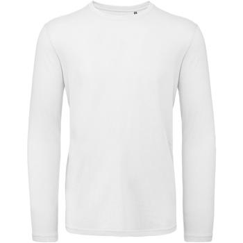 Textiel Heren T-shirts met lange mouwen B And C TM070 Wit