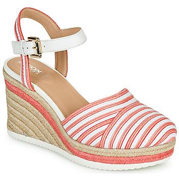 Schoenen Dames Sandalen / Open schoenen Geox D PONZA Rood / Wit