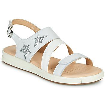 Schoenen Sandalen / Open schoenen Geox J SANDAL REBECCA GIR Wit / Zilver