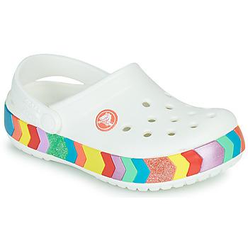 Schoenen Meisjes Klompen Crocs CROCBAND CHEVRON BEADED CLOG K Wit / Multikleuren