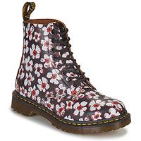 Schoenen Dames Laarzen Dr Martens 1460 PASCAL Zwart / Wit / Rood