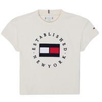 Textiel Meisjes T-shirts korte mouwen Tommy Hilfiger KG0KG05503-Z00-J Beige