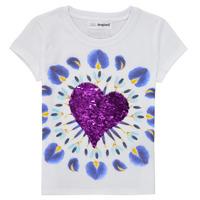Textiel Meisjes T-shirts korte mouwen Desigual 21SGTK45-1000 Wit