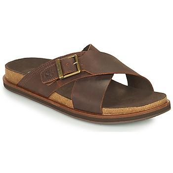 Schoenen Heren Leren slippers Timberland AMALFI VIBES CROSS SLIDE Brown