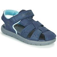 Schoenen Kinderen Sandalen / Open schoenen Timberland NUBBLE LEATHER FISHERMAN Blauw