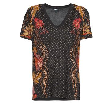 Textiel Dames T-shirts korte mouwen Desigual PRAGA Zwart