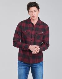 Textiel Heren Overhemden lange mouwen Dickies NEW SACRAMENTO SHIRT MAROON Bordeaux / Zwart