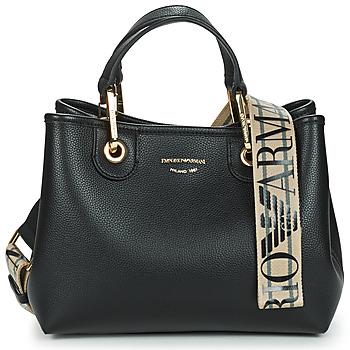 Tassen Dames Handtassen kort hengsel Emporio Armani BORSA SHOPPING Zwart / Goud