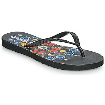 Schoenen Dames Slippers Desigual FLIP FLOP BUTTERFLY Zwart