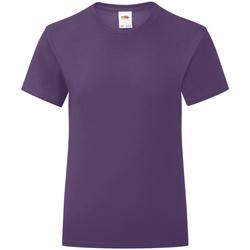 Textiel Meisjes T-shirts korte mouwen Fruit Of The Loom Iconic Paars