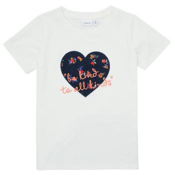 Textiel Meisjes T-shirts korte mouwen Name it NMFDELFIN TOP Wit