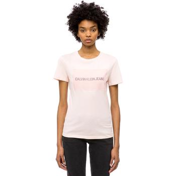 Textiel Dames T-shirts korte mouwen Calvin Klein Jeans J20J208606 Roze