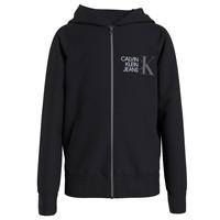 Textiel Jongens Sweaters / Sweatshirts Calvin Klein Jeans HYBRID LOGO ZIP THROUGH Zwart